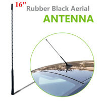 16''Black Rubber Roof Mount Car Aerial Antenna Mast Ariel Whip Wing Radio Stereo
