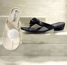NEW WOMENS IVORY ROSETTE THONG SANDALS SHOES SIZE 12 M