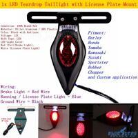 12V LED Teardrop Brake Taillight Running License Plate Bracket For Harley Black
