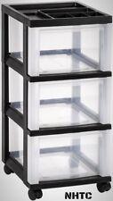 Storage Bin Tote 68 Qt. 3-Drawer Home Office Storage Portable Wheels In Black