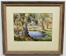 Vintage Original Signed J. CARNELL Watercolor Landscape Painting