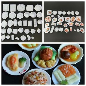 33Pcs Doll House Miniature Kitchen Food Dishes Plate Model Serving Kids Toys SY