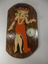 "Betty Boop Wooden Wall Plaque w/Clock 17"" x 10"""