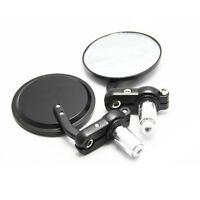 "Motorcycle MotorBike 7/8"" Handle Bar End Side Rearview Mirrors 3"" Round Black"