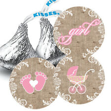 108 Baby Girl Shower Burlap & Lace Hershey Kiss Stickers Favors Pink Carriage