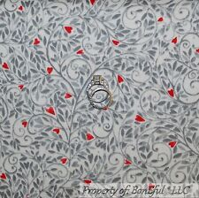 BonEful FABRIC Cotton Quilt Cream Gray Leaf Small Red Heart French Country SCRAP