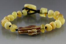 Genuine BALTIC AMBER Beads UNISEX Knotted CROSS Bracelet 9g 181128-8