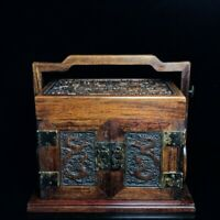 """11"""" Chinese old antique huanghuali wood handcarved Dragon pattern Jewelry box"""