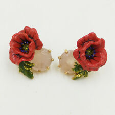 LES NEREIDES RED POPPY FLOWER AND NATURAL STONE STUD EARRINGS