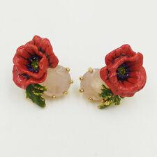 LES NEREIDES RED POPPY FLOWER AND NATURAL STONE STUD EARRINGS
