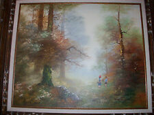 Beautiful painting in frame, Forest Scene w Boy and Red headed girl; L@@K PICs
