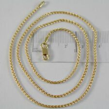 SOLID 18K YELLOW GOLD SPIGA WHEAT EAR CHAIN 20 INCHES, 1.5 MM, MADE IN ITALY