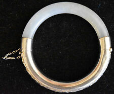 Vintage Chinese Silver and Natural Untreated White Jade Bangle/Bracelet