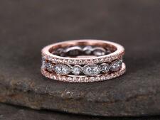 1ct Round Cut Diamond Vintage Anniversary Wedding Band 14k Solid White Rose Gold
