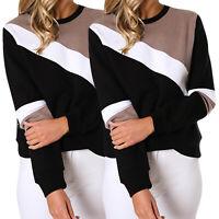 Womens Long Sleeve Sweatshirt Causal Pullover Sweater Jumper Color Block Tops