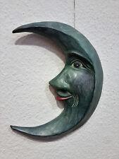 Mond aus Holz geschnitzt Handarbeit Unikat Deko Sonne Mond Sterne Skulptur