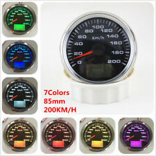 12V 85mm GPS Speedometer Waterproof Gauge 200KM/H Speed for Car Truck 7Colors