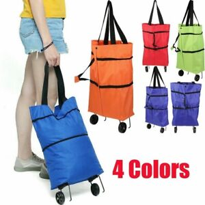 Reusable Folding Shopping cart Trolley Bag with Wheels grocery Supermarket