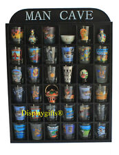 """Man Cave"" Shot Glass Display Case Rack Wall Shelves Shadow Box, No Door, MH36"