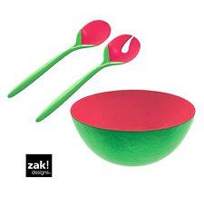 Zak Designs Set ensaladera,Fuente de ensalada SANDÍA + Cubiertos Para Verde