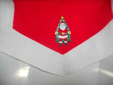Vintage Red Felt Christmas Tree Skirt with Santa Claus Tree Vinyl Applique