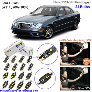 24 Bulbs Deluxe LED Interior Light Kit White For W211 2002-2009 Benz E-Class