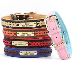 Soft Braided Leather Personalized Dog Collar Custom Nameplate Tag Engraved S-2XL