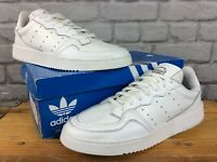 ADIDAS ORIGINALS MENS UK 9 EU 43 1/3 SUPERCOURT WHITE LEATHER TRAINERS LB