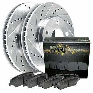 For 2008 Saturn Astra Front HartBrakes Drill Slot Brake Rotors+Ceramic Brake Pad