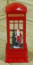 Christmas Metal LED Water Spinner Glitter Snow Telephone Box Santa  27cm Tall