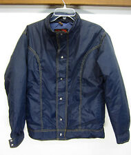 vtg 10-X Coat Jacket Down Fill Puffer navy blue nylon full zip sz L made in USA
