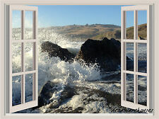 Waves Crashing Window View Repositionable Color Wall Sticker Wall Mural  3 FT