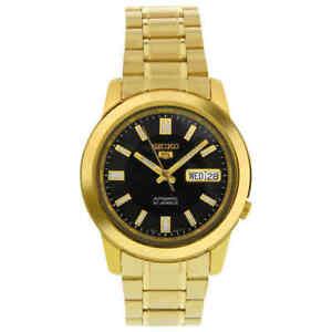 Seiko 5 Automatic Black Dial Yellow Gold-tone Men's Watch SNKK22