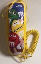 M&M Candy Collectible Trim Line Bright Yellow Phone W/Colorful M&M Characters