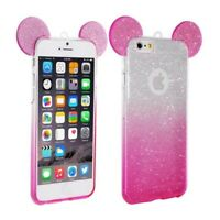 Coque Etui Housse Silicone GEL Oreille Mickey 3D Rose pour Iphone 6 6S
