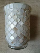 Abalone Style Mosaic Patterned Glass Candle or Tea Light Holder New