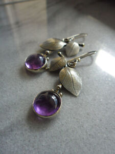 Elegant 925 Silver Drop Earrings for Women Purple Moonstone Jewelry A Pair/set