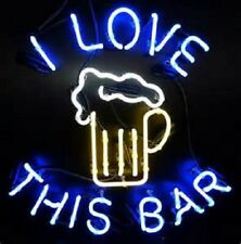 """I Love this bar Neon Sign 32"""" Artwork Light Real Glass Poster Decor Beer"""