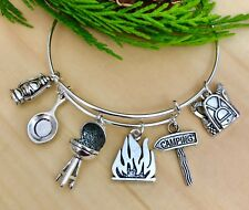 The Happy Camper-Camping Silver charm Expandable Bangle Bracelet