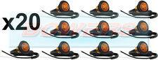 20 x 12V/24V AMBER SMALL ROUND LED BUTTON SIDE MARKER LAMPS/LIGHTS UNIVERSAL