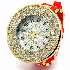 Mens Gold Red Iced out Hip Hop Fashion Silicone Quartz Wrist Indiglo watch