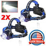 2X 350000LM USB Rechargeable Headlamp T6 LED Zoomable Headlight Work Light Torch