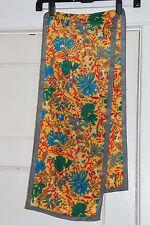 Albert Nipon Vintage Long Scarf * Vivid Colors ** Yellow Blue Green Red Gray