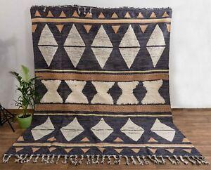 Bohemian Blue Modern Moroccan Handmade Wool Cotton Rug.MD-26