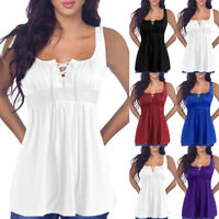 Womens Plus Size Summer Lace Up Tunic Vest T Shirt Blouse Sleeveless Tank Tops