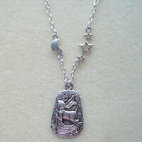 Moon Gazing Hare Pendant Silver Chain Necklace in Gift Bag