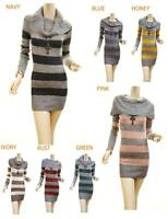 Women Wool Striped Cowl Neck Knitted Stretchy Tunic Rib Sweater Dress Top  S M L