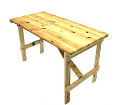 New 4' x 2' Wooden Trestle table folds flat very strong