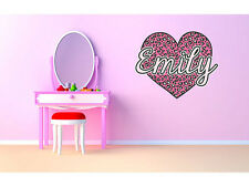 "Pink Cheetah Heart Monogram Name Girls Room Vinyl Wall Decal Graphics 27""x22"""