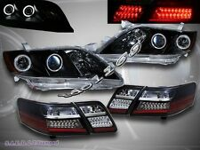 07 08 09 TOYOTA CAMRY DUAL CCFL HALO PROJECTOR HEADLIGHTS BLK + LED TAIL LIGHTS